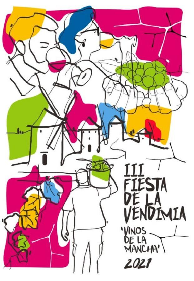 Pintan las uvas, del artista Diego Gil, elegido para representar la III Fiesta de la Vendimia en La Mancha